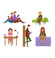 young people reading books in different vector image
