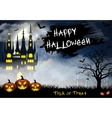 Halloween with castle tomb and bats vector image