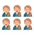 little kid girl face expressions vector image vector image