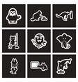 set of black and white icons animals profession vector image