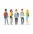 Happy senior school students - cartoon people vector image