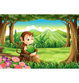 A happy monkey sitting above the stump while vector image vector image