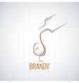 brandy glass bottle splash background vector image vector image