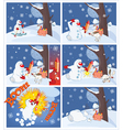 Adventures of Snowman with firework Cartoons vector image vector image