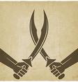 crossed arabian sabers old background vector image