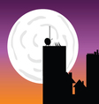 buildings in the moonlight art color vector image