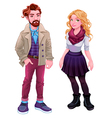 Fashion young characters vector image