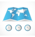 map icon and world time clocks vector image
