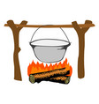 campfire with kettle vector image vector image