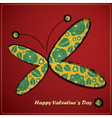 valentine day card with butterfly vector image