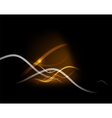 Yellow light in dark space with waves vector image vector image