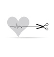 scissor with heartbeat vector image