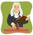 Angry judge makes verdict for law knocking gavel vector image