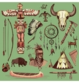 Collection of hand drawn wild west american indian vector image