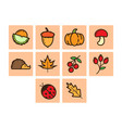 flat color autumn season icon set vector image