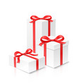 gift box set of three with red color bow knot and vector image