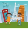 Happy Children on Travel Vacations vector image