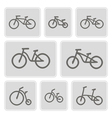 monochrome icons with bicycles vector image