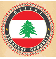 Vintage label cards of Lebanon flag vector image