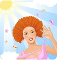 Smiling beautiful girl enjoys summer time vector image vector image