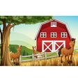 Horses at the farm near the red barnhouse vector image