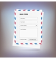 Mail form to send a message from the site vector image vector image