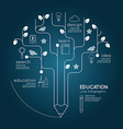 Flat linear Infographic Education Pencil Tree vector image vector image