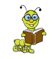 caterpillar holding book vector image vector image