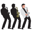 abstract music with silhouette of saxophone player vector image