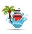cruise ship water splash palm summer vacation vector image