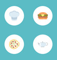 flat icons teapot chef hat fast food and other vector image