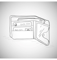 Leather wallet with the money and cards vector image
