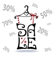 Sale letteringShirt on hangerfalling numbers vector image
