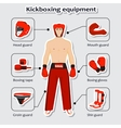 Sport equipment for kickboxing martial arts with vector image