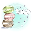 Sweet delicious doodle macarons card vector image