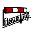 Color vintage kitesurfing emblem vector image