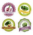 vegetables label set vector image