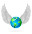 Globe with white wings on white vector image vector image