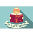 Girl reading a book do not disturb vector image