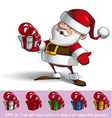 Smilling Santa Holding a Present vector image vector image