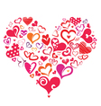 big heart made of many differnt heart symbols vector image vector image