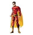 comic style male superheroe with red uniform icon vector image