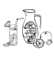 pitcher of lemonade and drink in a glass vector image