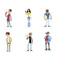 six fashionable characters vector image