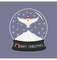 Snowy white owl Red Santa hat Flying bird Big vector image