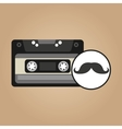 cassette vintage mustache style hipster vector image vector image