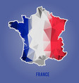 low polygonal national flag stylized france map vector image