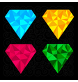Set of four diamonds Blue yellow pink and green vector image