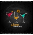 cocktail summer party chalk design menu background vector image vector image