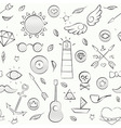 Hand drawn hipster seamless pattern over white vector image